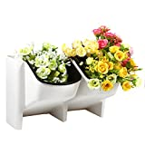 Mini Stackable Garden Vertical Planter All Season Stacking Hanging Flower Pot For Veg Herb Fruit Indoor Outdoor, White