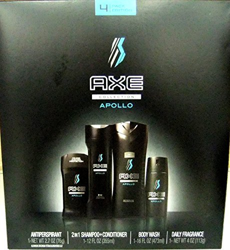 AXE New 2016 APOLLO 4 Piece Box Set for Him (Daily Fragrance Body Spray, Antipersperant Stick, Shower Gel, 2-IN-1 Shampoo Conditioner by AXE Collection