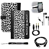 LEOPARD ( BLACK WHITE ) Protective Slim and Durable Professional Faux Leather Executive Portfolio Cover Carrying Case with Suede interior For Amazon Kindle Fire Full Color 7'' Multi-touch Display, Wi-Fi + Includes a Black Micro USB Data Sync Cable + Auxila