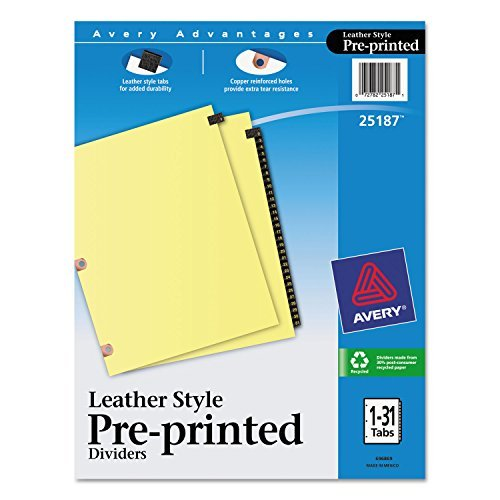 Avery 25187 Black Leather Tab Dividers, 1-31, 31 Tabs, 8-1/2