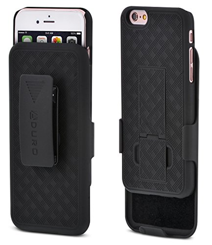(Aduro iPhone 6S / 6 Case, Combo Shell & Holster Case Super Slim Shell Case w/Built-in Kickstand + Swivel Belt Clip Holster for Apple iPhone 6S / 6)