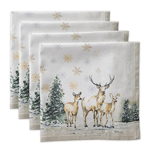 Maison d Hermine Deer in The Woods 100% Cotton Set of 4 Napkins 20 Inch by 20 Inch.