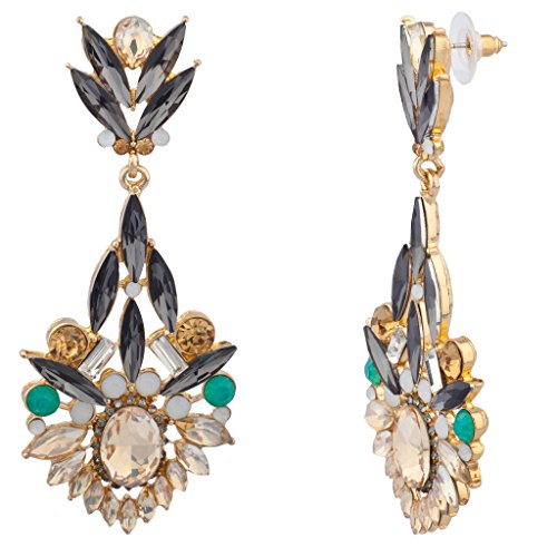Lux Accessories Elegant Glass Stone Pave Statement Earrings