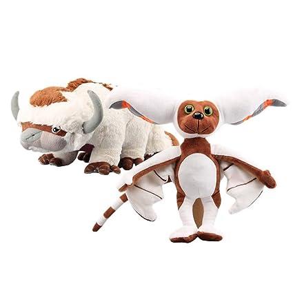 LevinArt 2 Pcs Avatar Last Airbender Appa & Momo Plush Toy Soft Stuffed  Animals Cattle and Bat Doll Children Toys