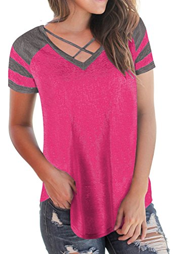 Imily Bela Womens Summer Tops Short Sleeve T-Shirts Casual Color Block V Neck Tunic Tees (Summer Block)