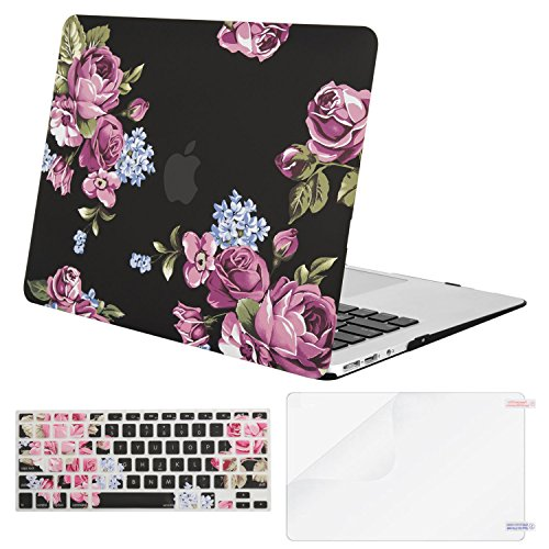 (MOSISO Plastic Pattern Hard Case Shell with Keyboard Cover with Screen Protector Compatible MacBook Air 13 Inch (Model: A1369 and A1466), Peony)
