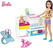 Barbie Nursery Playset with Skipper Babysitters Doll, 2 Baby Dolls, Crib and 10+ Pieces of Working Baby Gear a