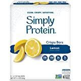 SimplyProtein Crispy Bar Singles. Clean and Light Crispy Bars with Plant Based Protein. (32 Pack, Lemon)