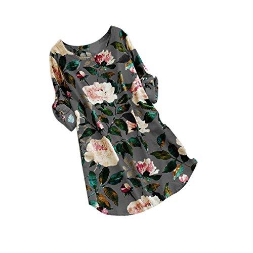 Women Floral Dress, 2018 Hot Sale! Ladies Print Mini Dress Summer Party Long Long Sleeve Dress Plus Size (Gray, XL)