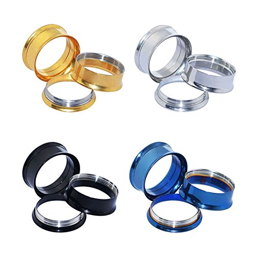 D&M Jewelry 4 Pairs Stainless Steel Screw Expander Flesh Tunnels Body Piercing Gauge 6g -