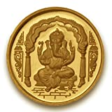 Ganesh Coin in Pure 24k Yellow Gold 1 Gram Certified