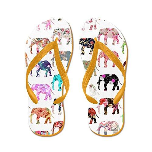 Cafepress Girly Whimsical Retro Elefantes Florales - Chanclas, Sandalias Thong Divertidas, Sandalias De Playa Naranja