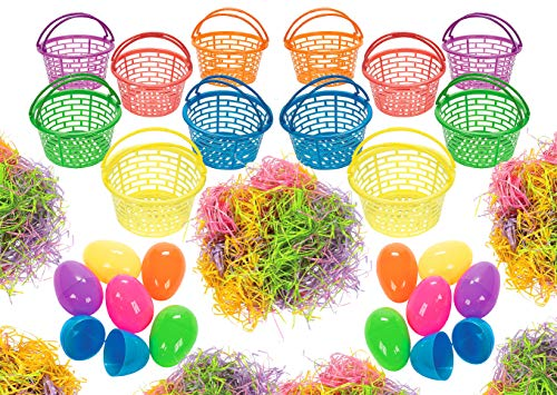 Jumbo Easter Baskets Grass And Eggs Set, 12