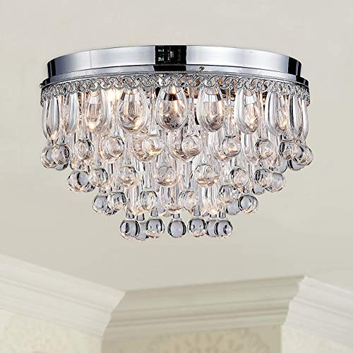 Modern Clear Crystal Raindrop Round Chandelier Flush Mount LED Ceiling Light Fixture Lighting Lamp for Dining Room Bathroom Bedroom Livingroom 4 E12 Bulbs Required H10 in X D14in