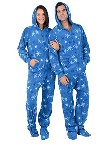 Footed Pajamas Family Matching Snow Blizzard Adult Hoodie Fleece Onesie - Large
