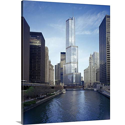 GREATBIGCANVAS Gallery-Wrapped Canvas Entitled Hotel in a City, Trump International Hotel and Tower, Chicago, Cook County, Illinois by 38