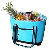 over the shoulder cooler bag - VIGBAGNIA Cooler Bag Insulated 30 Can Soft Sport Tote Bag Fodable Snapbasket(LT Blue)