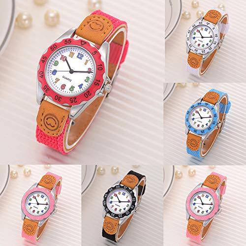 Fashion Children Kids Arabic Numbers Nylon Band Wristwatch Analog Quartz Watch Wrist Studens Watches by Gaweb (Image #3)