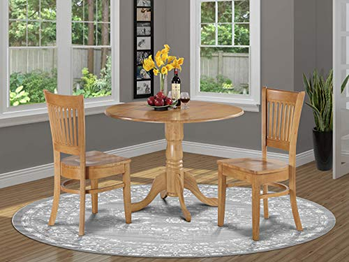 DLVA3-OAK-W 3 Pc Kitchen nook Dining set-small Table and 2 dinette Chairs Chairs (Target Bistro Chair)