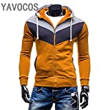 YAVOCOS Hoodies Men Sudaderas Hombre Hip Hop Mens Brand Leisure Zipper Jacket Hoodie Sweatshirt Slim Fit Men Hoody (Camel, L)