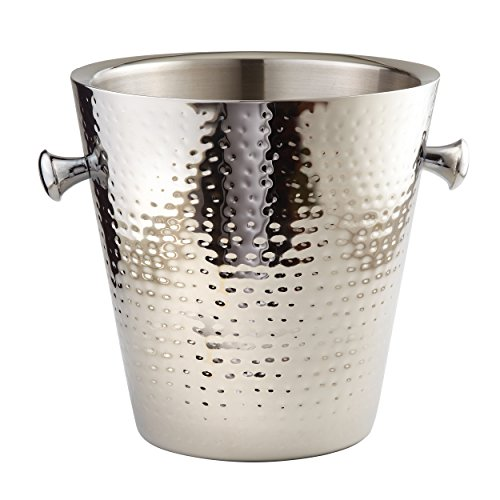 Elegance Hammered Stainless Steel Doublewall Champagne Bucket, 9'', Silver by Elegance