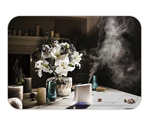 Beshowere Doormat humidifier on the table near to bouquet of flowers in home interior