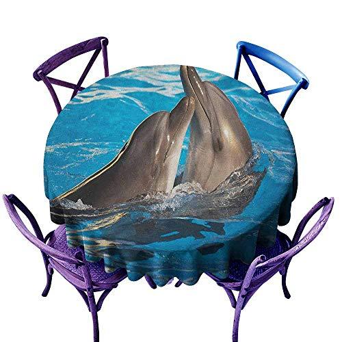 familytaste Dolphin,Tablecloth Round Tablecloth D 36