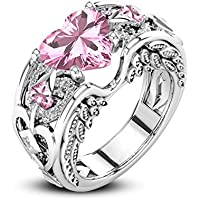 LALISA Heart Shape Pink Sapphire Cz White Gold Filled Angel Wings Women Wedding Rings (9)