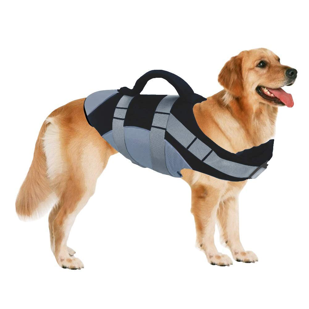 LONG-C Life Jackets for Dogs, Dog Float Coat with Reflective Strips and Rescue Handle, Adjustable Ripstop Pet Life Vest for Small, Medium, Large Dogs,Black,M