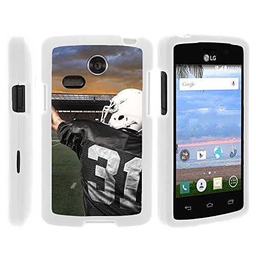 (MINITURTLE Case Compatible w/LG Lucky/LG Sunrise White Phone Case, Perfect Slim Fit Snap on Cell Phone Protector Case Unique Football Design for L15G / L16C ? Touchdown Throw)