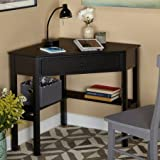 Wooden Corner Writing Desk with 1 Drawer and 2 shelves in Black