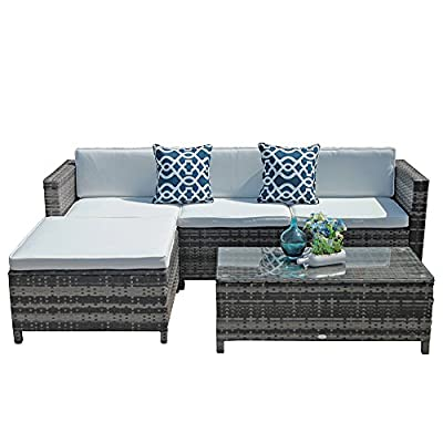 Super Patio Outdoor Patio Furniture Set, 5pc PE Wicker Rattan Sectional Furniture Set with Cream White Seat and Back Cushions, Steel Frame, Blue Throw Pillows,Gray