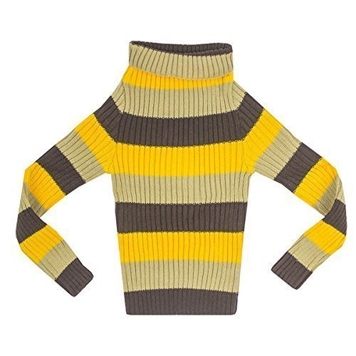 GetWivvit Girls Bright Rainbow Retro Stripe Ribbed Roll Neck Knit Jumper Sizes from 2 to 12 Years