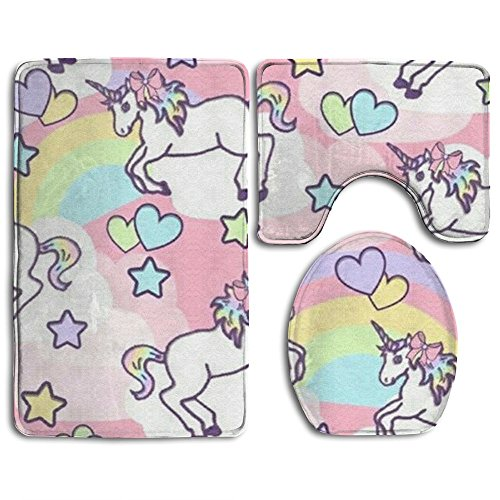 Unicorn Licorne Animal Accessories Bathroom Rugs Set Easy Clean Bath Mat Set Easy Care Lid Toilet Cover And Bath Mat