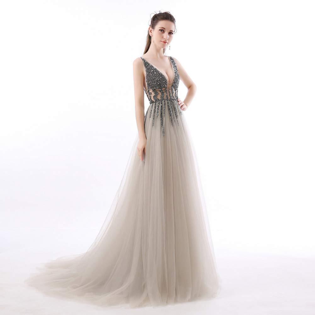 L BINGQZ Dress Cocktail Dresses Casual Robe de Soiree Longue V-Neck High Side Split Evening Dress Abendkleider Formal Prom Long