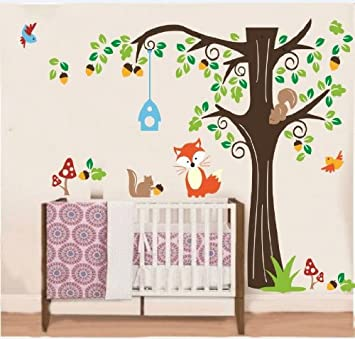 Nursery Forest Animals Wall Decal Vinyl Baby Animal Wall Stickers for Kids Room Decor  sc 1 st  Amazon.com & Amazon.com: Nursery Forest Animals Wall Decal Vinyl Baby Animal Wall ...
