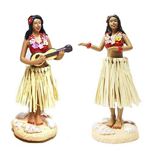 (Smyer Hula Girl Dashboard, Hawaiian Mini Dashboard Doll with Ukulele,Collection Figurines Gifts for Decoration 4.5