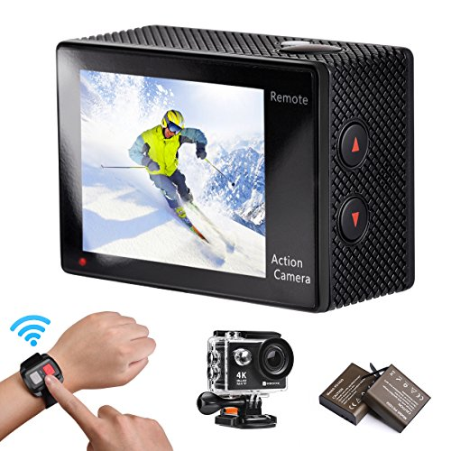 Action Camera, 4K WIFI Ultra HD Video Camera Waterproof DV Recorder 12MP Diving Camera 2 Inch LCD Screen 170 Wide Angle Remote Control Camcorder Sports Camera Carrying Case 20 Accessories 1080P 720P Action Cameras BOROFONE