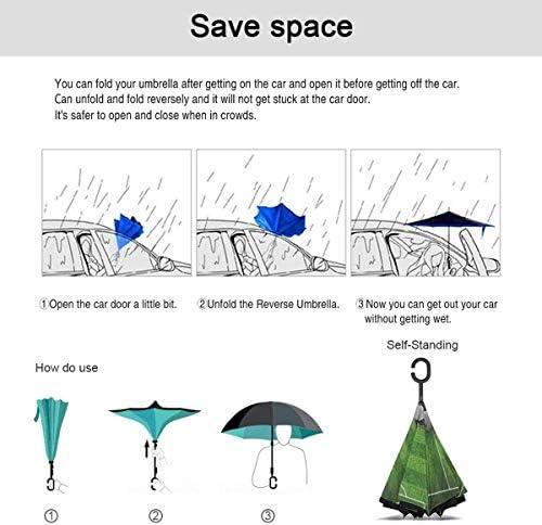 草のフィールドにサッカーサッカー ユニセックス二重層防水ストレート傘車逆折りたたみ傘C形ハンドル付き