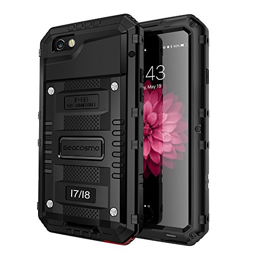 iPhone 7 Waterproof Case, Seacosmo Full Body Protective Shell with Built-in Screen Protector Military Grade Rugged Heavy Duty Case Cover for iPhone 8/iPhone 7, Black