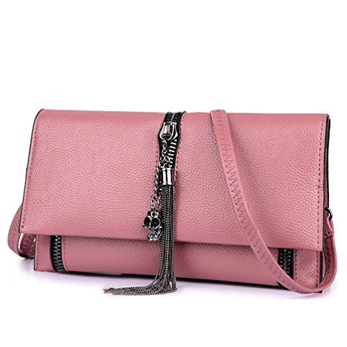 T16691 Bag Pink for Leather Fashion Teen Women's Shoulder Clutch LIZHIGU Zipper Crossbody Girls Purse Bag q1OtAR