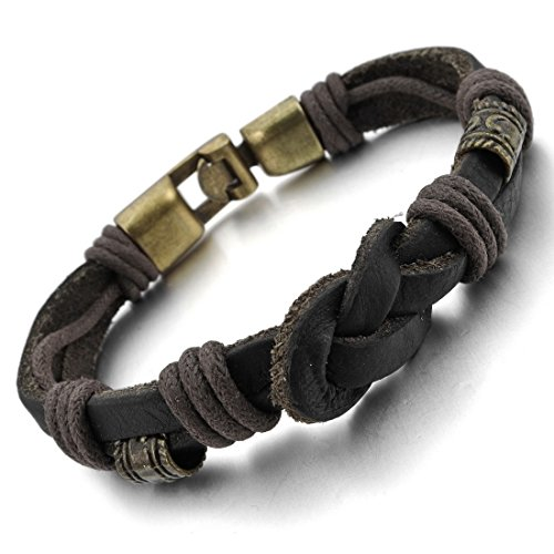 INBLUE Genuine Leather Bracelet Braided