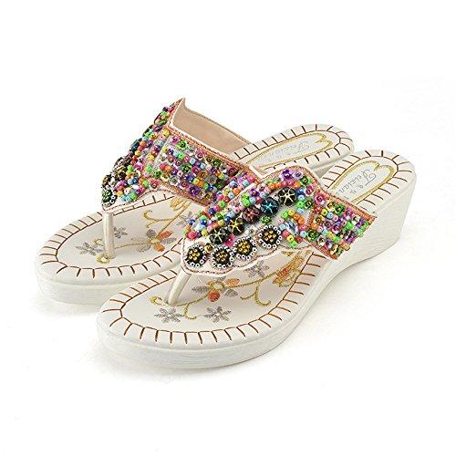 QXH Las Mujeres Sandalias de Playa, Zapatos de Tacón Alto de Cabeza Redonda Color Hechizo White
