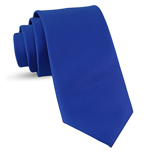 Handmade Royal Blue Ties For Men Skinny Woven Slim Tie Mens Ties : Thin Necktie, Solid Color Neckties 3
