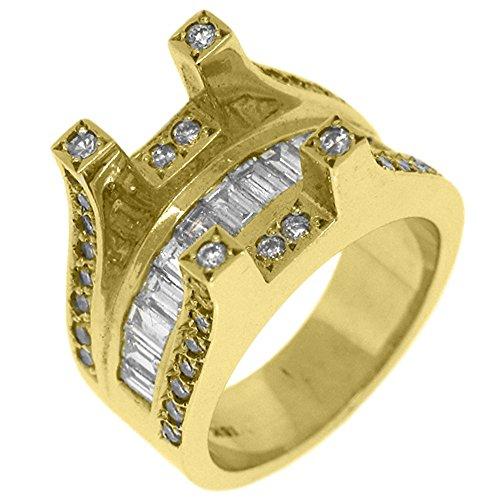 18k Yellow Gold Baguette Diamond Ring Tension Semi Mount 2.21 (Yellow Baguette Diamond Semi Mount)