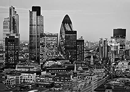 Stickerswall London City Canary Wharf The Gherkin London Buildings Scenery View Wall Mural Photo Wallpaper Picture Self Adhesive 342cmw X 242cmh