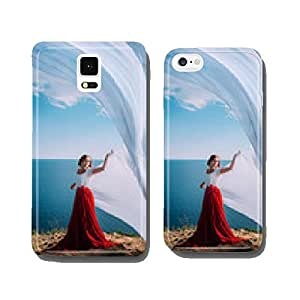 Beautiful Girl With White fabric on sea background cell phone cover case iPhone6 Plus