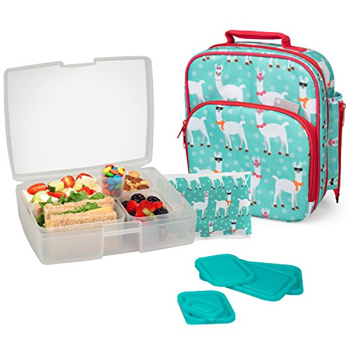 Bentology Lunch Bag and Box Set for Girls - Includes Insulated Durable Tote Bag with Handle and bottle holder, Bento Box, 5 Containers and Ice Pack - BPA & PVC Free (Llama)