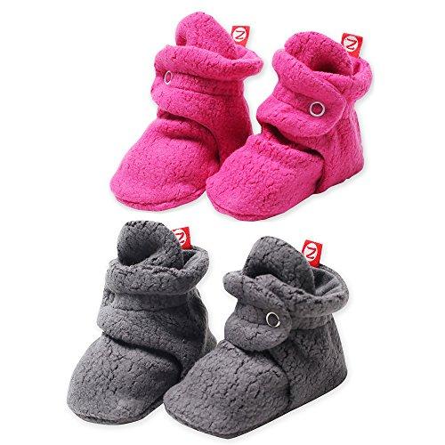 2 Pack Zutano Booties Unisex Fleece Slipper Socks Gray and Fuchsia - 18M