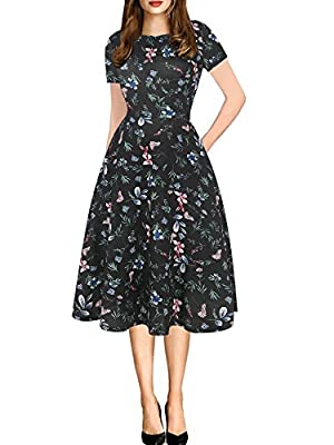 oxiuly Women's Vintage Round Neck Floral Casual Pockets Tunic Party Cocktail Cotton Blend A-Line Summer Dress OX262